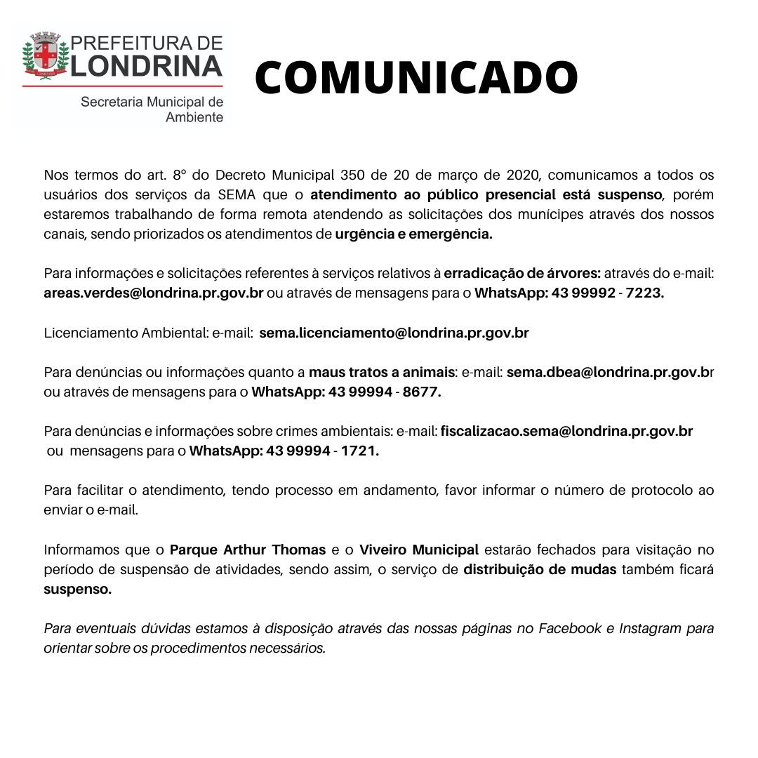 Comunicado período de suspensão